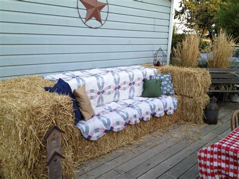 hay bale sofa hay bale made with ten bales one quilt and a few