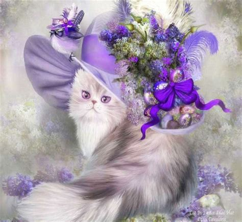 cat easter wallpaper cat in easter lilac hat cats animals background