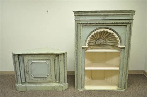 antiqued 20th c shell carved country style corner