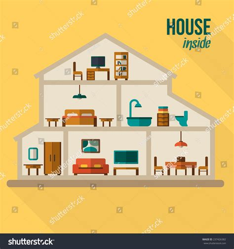 house interior vector house cut detailed modern house interior stock vector 237426382 shutterstock