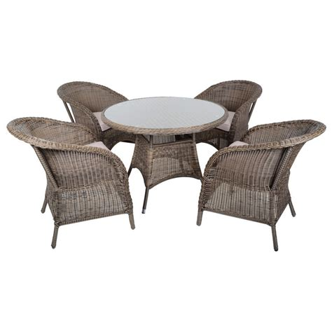 4 Chair Table Set Marseille Wicker Rattan Garden Furniture Table 4 Chairs Set
