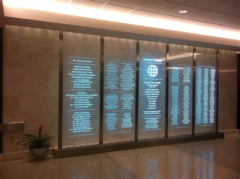 etched glass donor wall display illuminated by white led