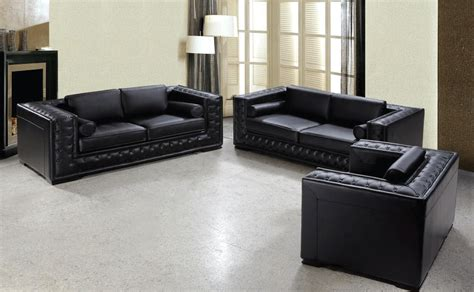 Black And Leather Sofa by Black Leather Sofa Set He 707 Leather Sofas