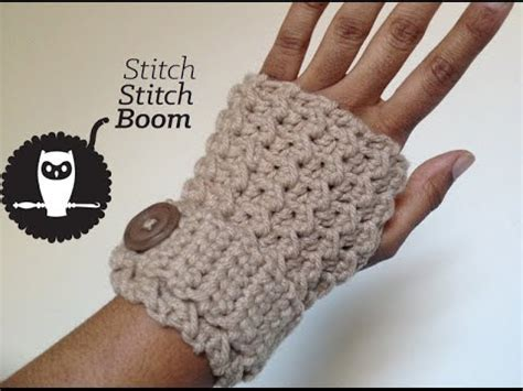 pattern gloves youtube crochet tutorial moss stitch fingerless mittens youtube