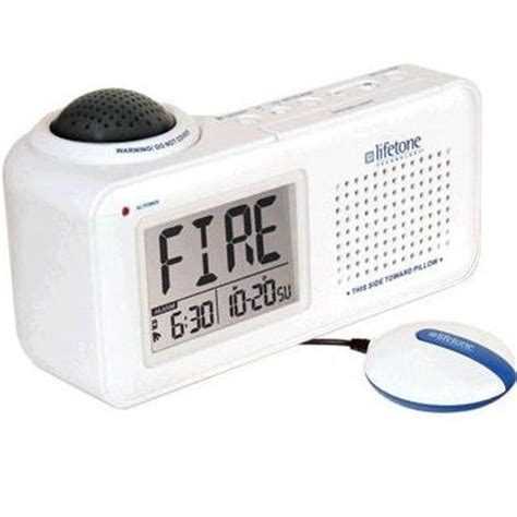 bed shaker alarm lifetone hlac151 bedside vibrating fire alarm and clock