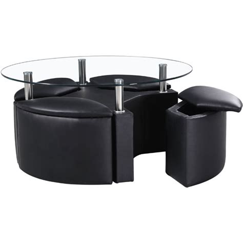 Circular Dining Table 4 Storage Stools by Minnesota Glass Coffee Table With 4 Storage Stools In