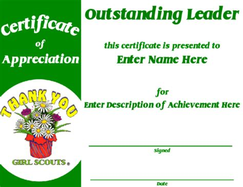 girl scout award certificate template certificate of