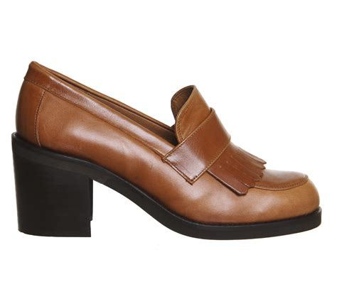 heel loafer office quiff fringe block heel loafers in brown lyst