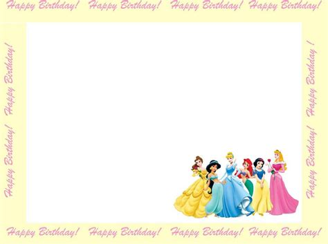 disney card templates disney princesses birthday invitations disney princess