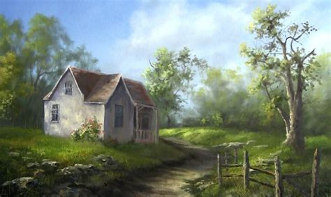 painting of house oil painting small country house paint with kevin hill