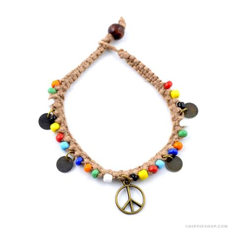 peace sign beaded hemp bracelet on sale for 5 99 at the