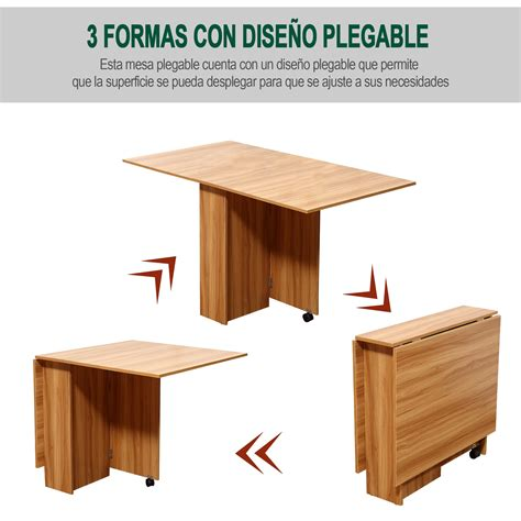mesas de madera plegables para comedor homcom 174 mesa comedor plegable con ruedas mesa auxiliar 3