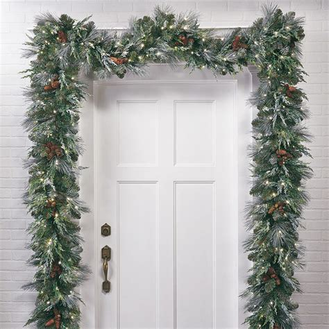 frosted pine cordless christmas garland frontgate