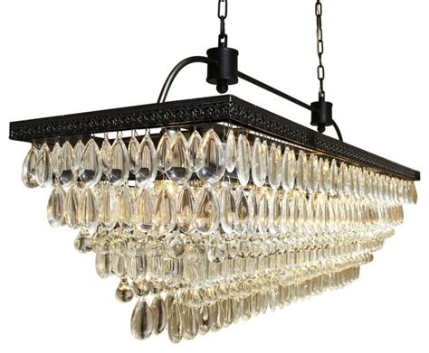 Shop Houzz Lightupmyhome Weston 40 Quot Rectangular Glass Drop Chandelier