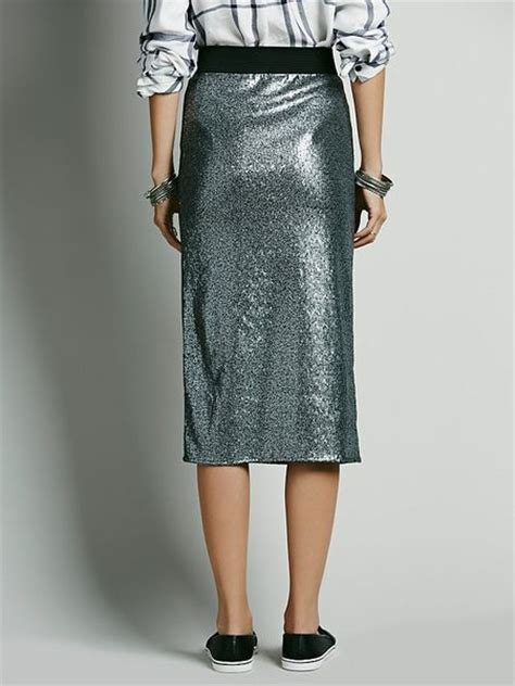 free people sequin skirt free disco sequin pencil skirt in silver lyst