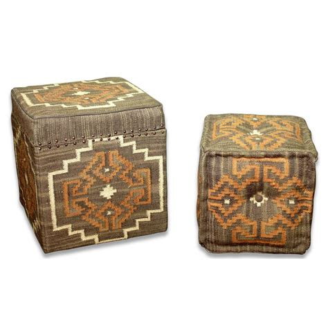Kilim Storage Ottoman Lyons Bend Rustic Brown Orange Kilim Storage Ottoman With Stool Kathy Kuo Home