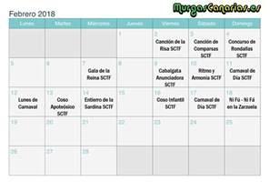 Calendario 2018 Febrero Fechas De Los Carnavales En 2018 Murgascanarias