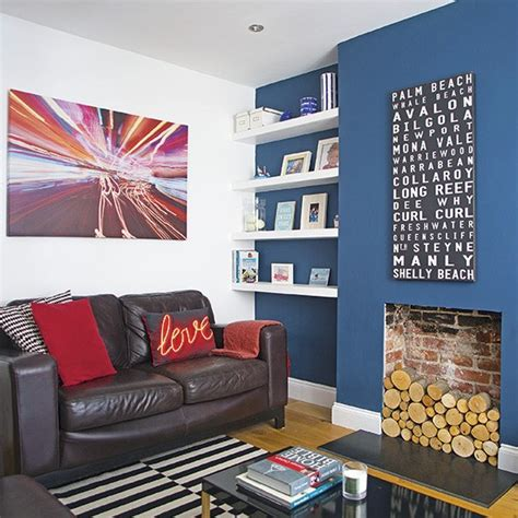 living room feature wall living room with blue feature wall decorating housetohome co uk
