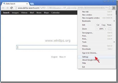 chrome menu remove delta search delta search toolbar adware and