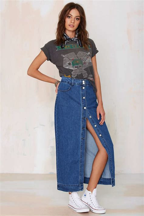 glamorous of one mind denim maxi skirt in blue lyst