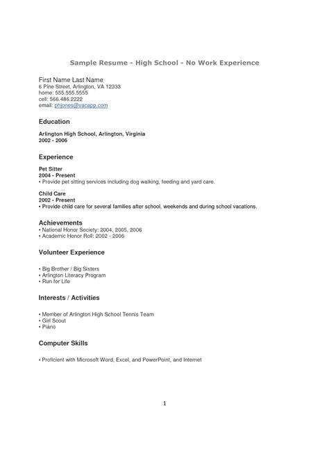 resume format for highschool students with no experience resume exle for a high school student with no experience resume papers