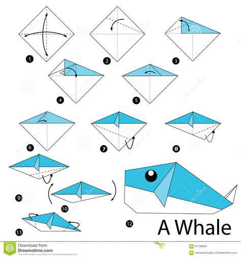 Steps To Make A Origami - step by step how to make origami a whale