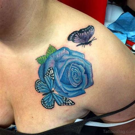 butterfly on rose tattoo 55 beautiful butterfly and flower shoulder tattoos