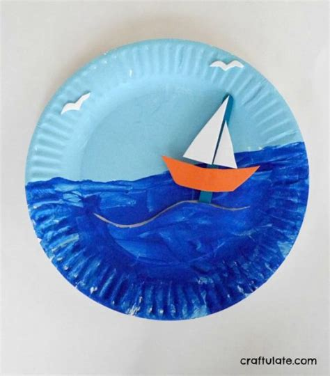 how to make a paper plate boat paper plate boat scene craftulate
