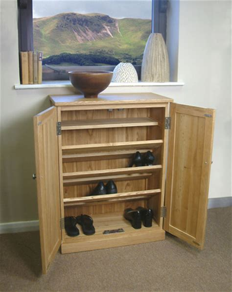 solid oak shoe rack cabinet cupboard storage furniture