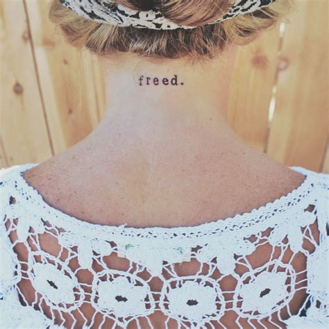 small christian tattoos freed neck typewriter font small word jesus