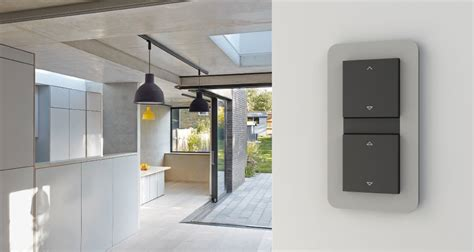 jalousie grau designer light switches in the modern living ambiance
