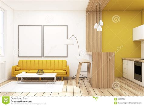 yellow couch studio large modern luxury apartment living room with kitchen bar