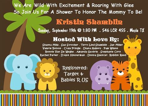 Jungle Themed Baby Shower Invitations by Monkey