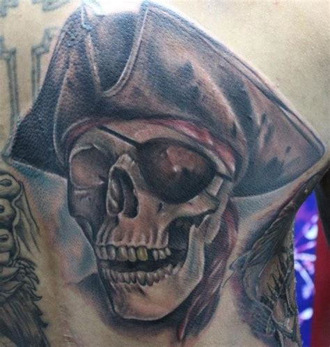 skeleton pirate tattoo designs color pirate skull with cross bones on sleeve