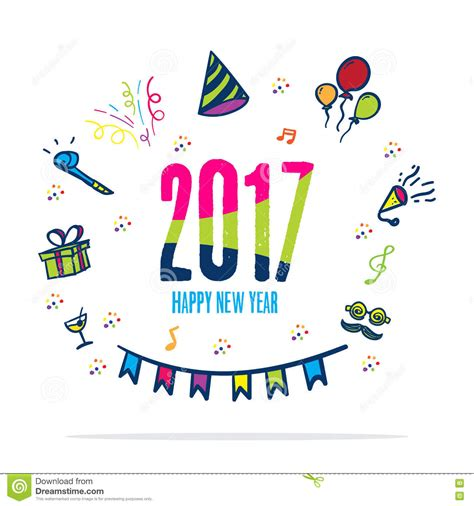 happy new year icons 2017 happy new year colorful color with doodle icon