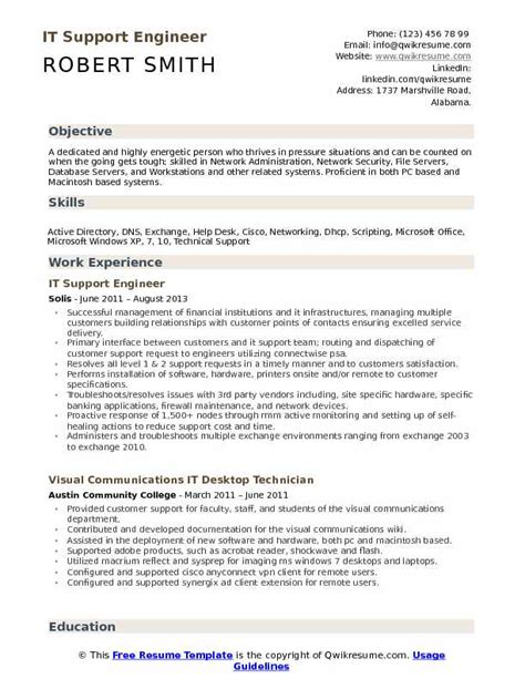 resume format for it support engineer it support engineer resume sles qwikresume