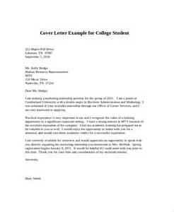 Cover Letter Exles College Students by Sle Cover Letter For Internship 9 Exles In Word Pdf