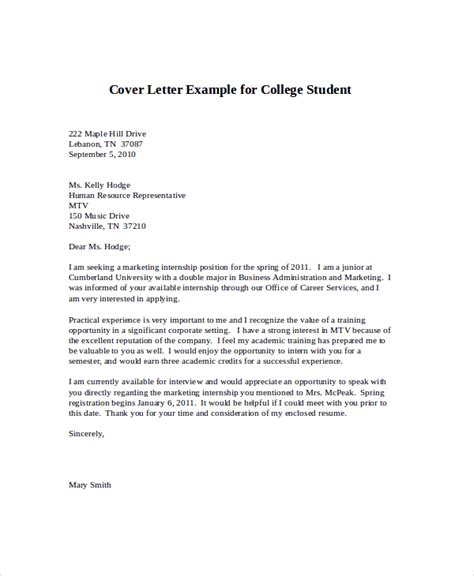 cover letter college student sle cover letter for internship 9 exles in word pdf