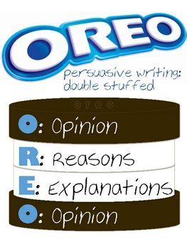oreo template for persuasive writing anchor charts writing strategies and opinion writing on