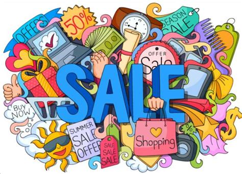doodle shopping sale with shopping doodle vector 01 welovesolo