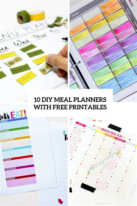 free diy printable planner 10 easy diy meal planners with free printables shelterness