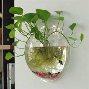 New Wall mounted Hanging Acrylic Fish Tank Bubble Aquarium Bowl Plant