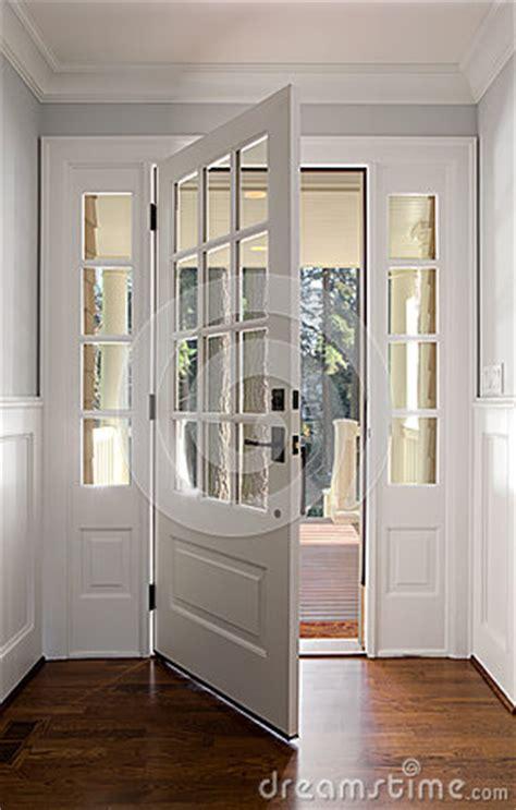 vertical shot open wooden front door stock photo image