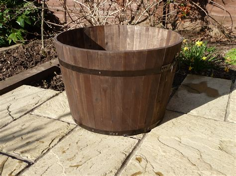 Large Wooden Barrel Planters by Premium Wine Barrel Planter Large Simply Wood