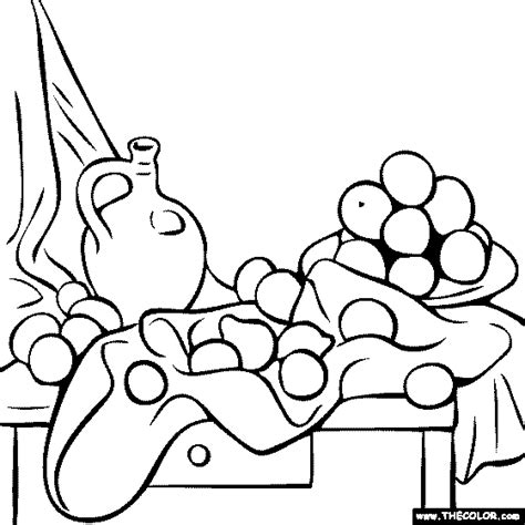 cezanne still life colouring pages