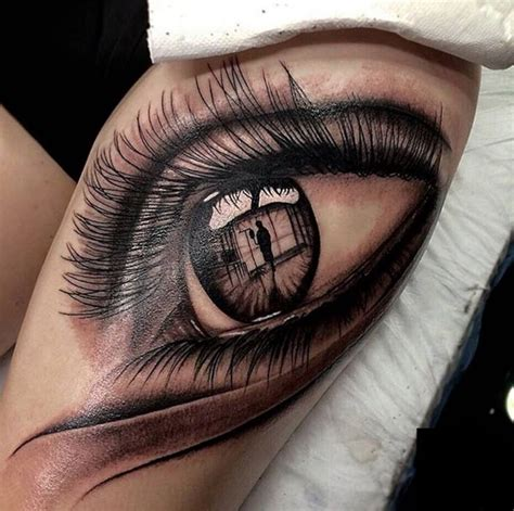 tattoo ink in eyes grey ink realistic eye tattoo on left thigh by dimitar