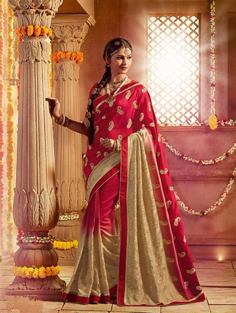latest wedding sareesbuy south indiantraditional silk buy designer silk sarees online uk red beige south