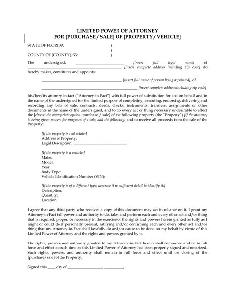 power of attorney template florida best photos of limited power of attorney template real