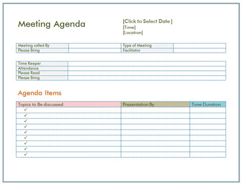 basic meeting agenda template formal informal meetings