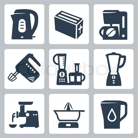 Vector kitchen appliances icons set | Stock Vector | Colourbox Free Digital Clip Art Maker